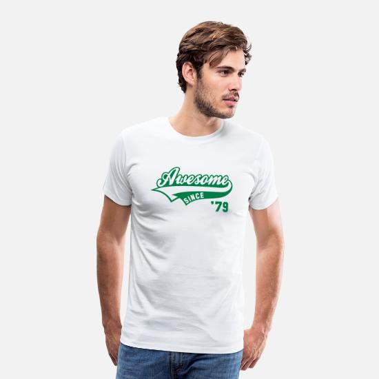 Vintage T-Shirts - Awesome SINCE 1979 - Birthday Anniversaire - Men's Premium T-Shirt white