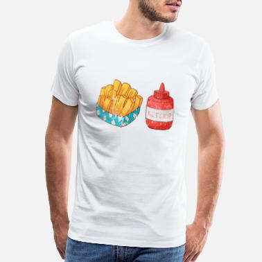 Hamburg Retro Vintage Grunge Style French fries Ketchup - Men's Premium T-Shirt