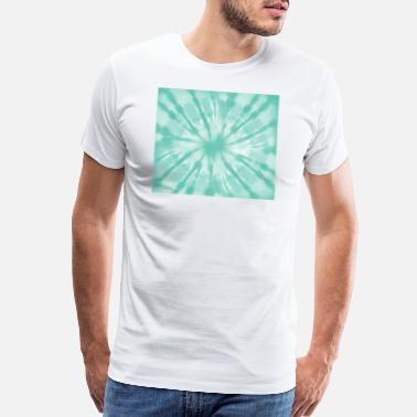 Gypsy Mint Green and White Spider Tie Dye Watercolor - Men's Premium T-Shirt