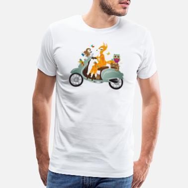 Nostalgic Forest animals on a jaunt with a scooter - Men's Premium T-Shirt