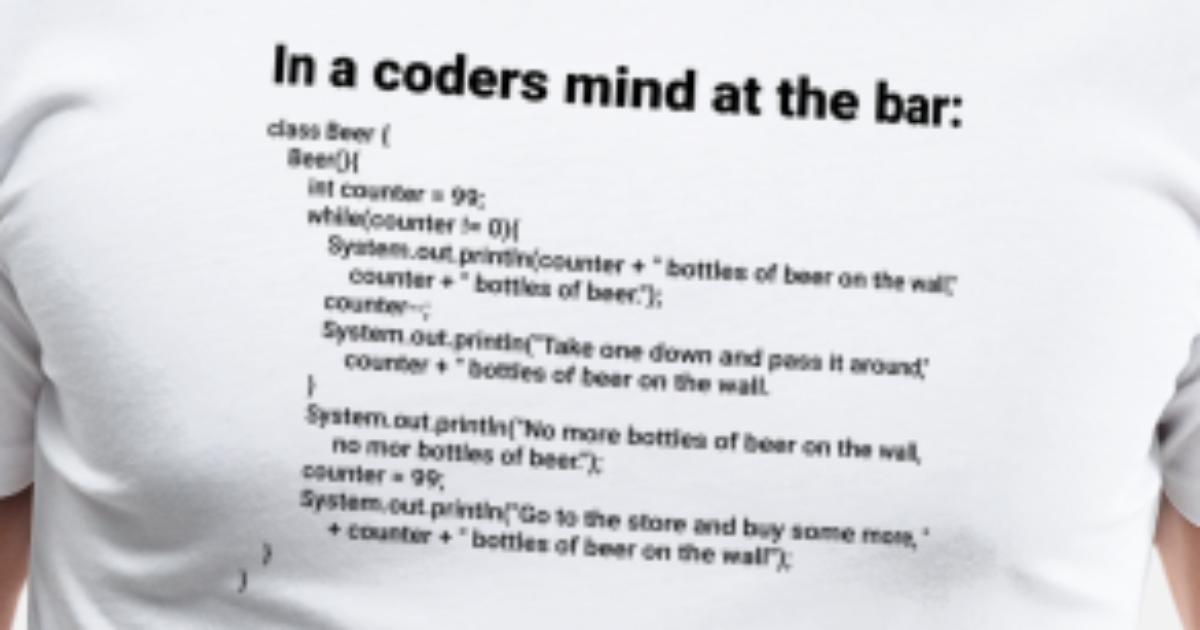 Simple Java 99 Bottles Of Beer Song S Men Premium T Shirt