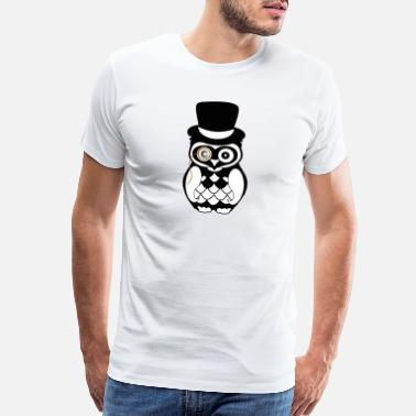 Dirty Wife gentleman owl topper eye black white art - Men's Premium T-Shirt