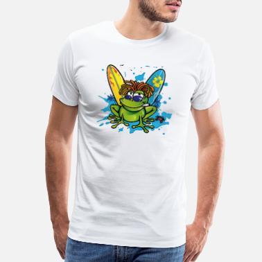 Frog Frog Prince Summer jamaican cartoon frog water color - Men's Premium T-Shirt