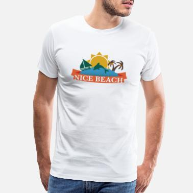 Dress Nice beach showing sunrise boat and palm trees - Men's Premium T-Shirt