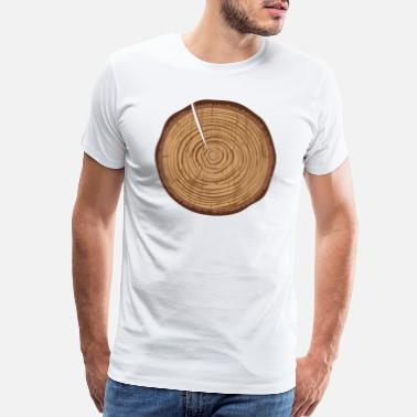 Power Symbol A wooden disc with annual rings and a crack - Men's Premium T-Shirt