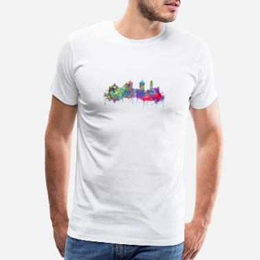 Watercolor Puebla skyline - Men's Premium T-Shirt