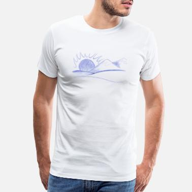 Line Drawing mountain line drawings - Men's Premium T-Shirt