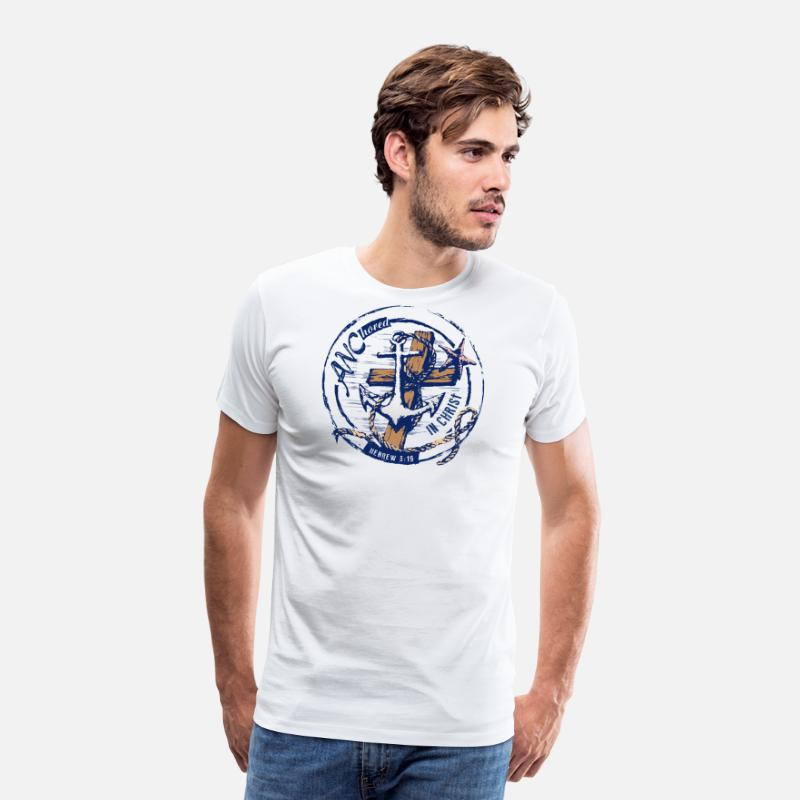 Navy T-Shirts - ANChored in Christ Logo HR II - Men's Premium T-Shirt white