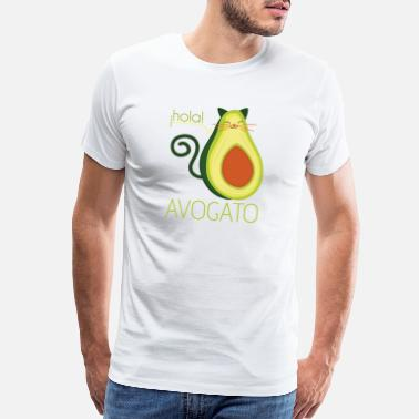 Cat Lover Hola Avogato Avocado Cat Mexican Spanish Food Gift - Men's Premium T-Shirt