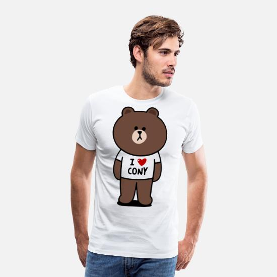 Brown T-Shirts - Funny Cartoon 2005321 Brown - Men's Premium T-Shirt white