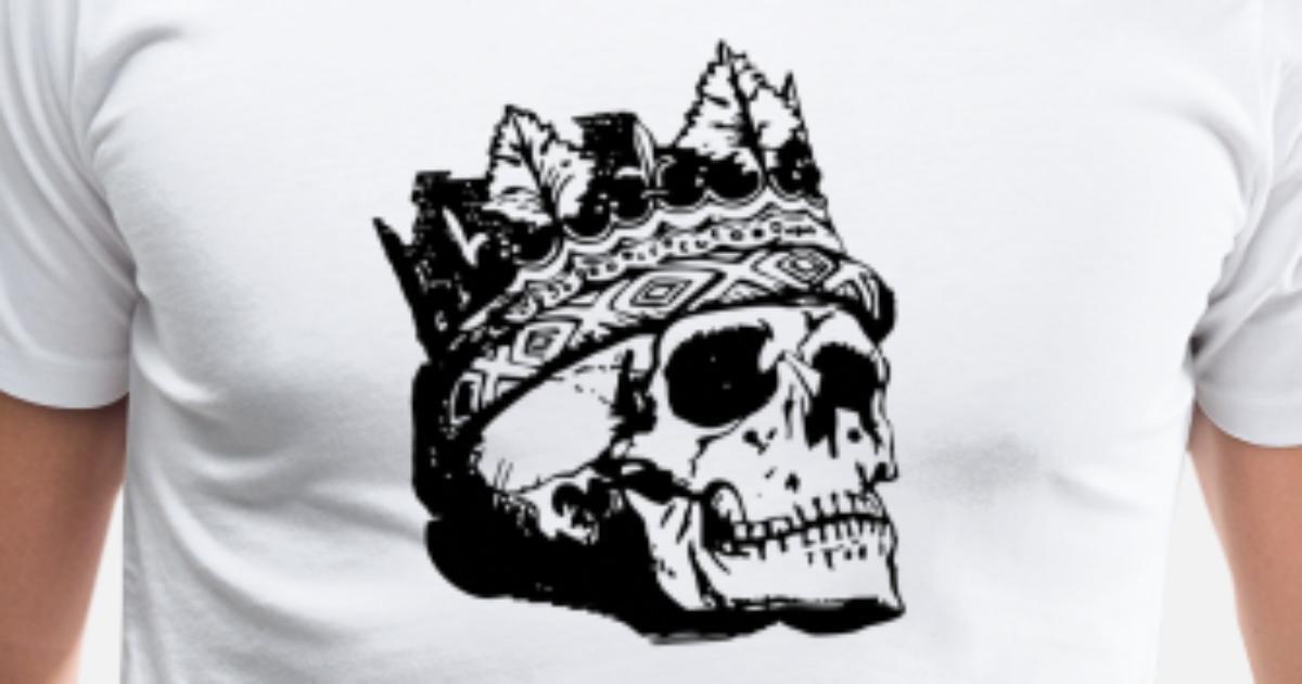 077f7b0e239f Skull Crown King Queen Majesty Skeleton Men's Premium T-Shirt ...