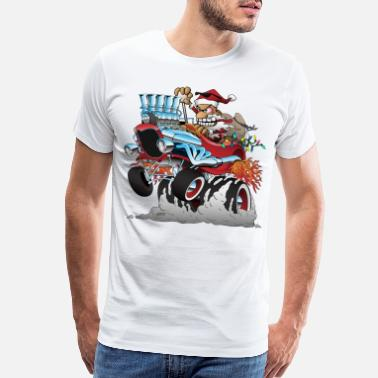 Cars Hot Rod Santa Christmas Cartoon - Men's Premium T-Shirt