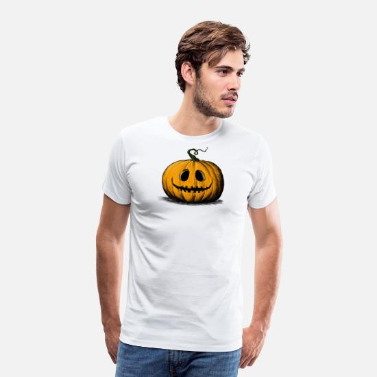 Halloween T-Shirts - Happy Halloween Jack O'Lantern Adult Natural - Men's Premium T-Shirt white