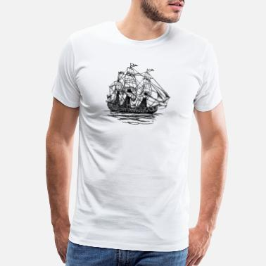 Seaport ship boat canoe sailboat submarine yacht anchor254 - Men's Premium T-Shirt