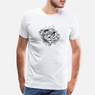 Tattoo Art Rose - drawing nature cool tattoo idea - Men's Premium T-Shirt