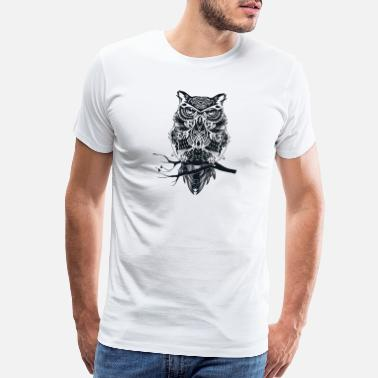 Robber Owl on a branch - wisdom, wisdom - Men's Premium T-Shirt