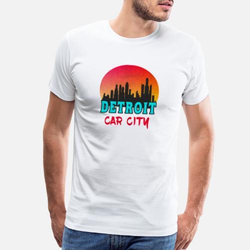 8b4590992 Detroit Car City Sunset Vintage   Gift Skyline Men s Premium T-Shirt ...