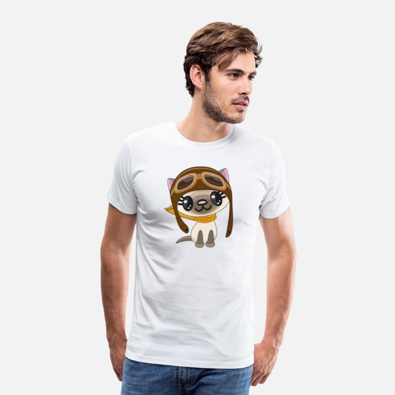 Skies T-Shirts - cat-pilot-scarf-sky - Men's Premium T-Shirt white