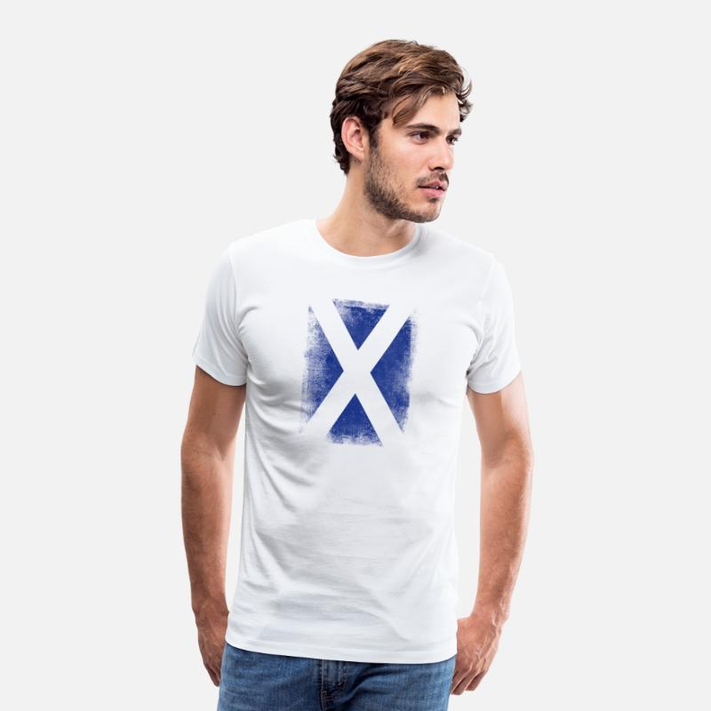 Flag T-Shirts - Scotland Flag Proud Scottish Vintage Distressed - Men's Premium T-Shirt white