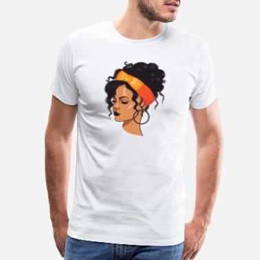 Facial Hair Pretty lady Fashion Model African American Ethnic - Men's Premium T-Shirt
