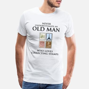 Caveman Stamp Collecting Collector Dad Grandpa Fathers Day - Men's Premium T-Shirt