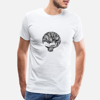 Hair Cute Hand Drawn Woman With Long Hair, Vintage - Men's Premium T-Shirt