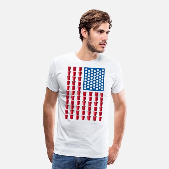 July T-Shirts - Beer Pong Drinking Game American Flag - Men's Premium T-Shirt white