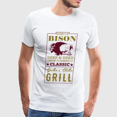 Label Bison American Barbecue Classic - Men's Premium T-Shirt