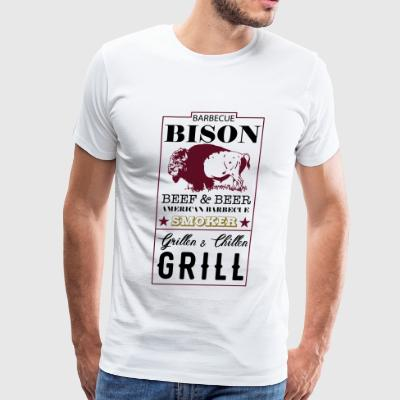 Label Bison American Barbecue Smoker - Men's Premium T-Shirt