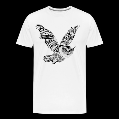 Flying Owl - black and white - Men's Premium T-Shirt