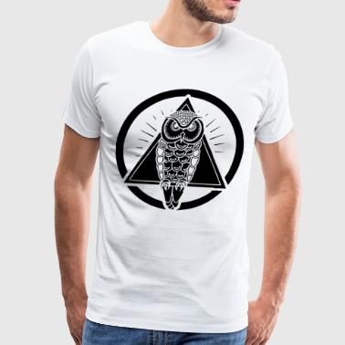 OWL TRIANGLE ILLUMINATI CONSPIRACY THEORY - Men's Premium T-Shirt