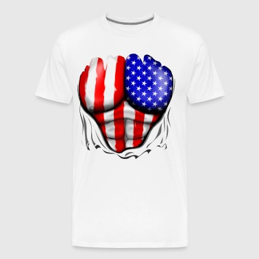 America Flag Ripped Muscles, six pack, chest t-shirt - Men's Premium T-Shirt