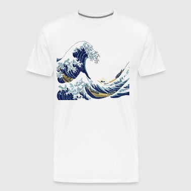 Hokusai Great Wave off Kanagawa (White Version) - Men's Premium T-Shirt