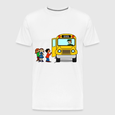 school kids waiting a bus - Men's Premium T-Shirt