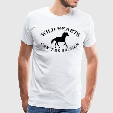 Wild hearts horses riding gift broken tame - Men's Premium T-Shirt