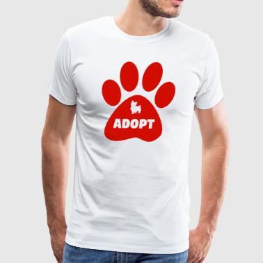 Cute Pets Paw Cat Dog Adopt Red - Men's Premium T-Shirt