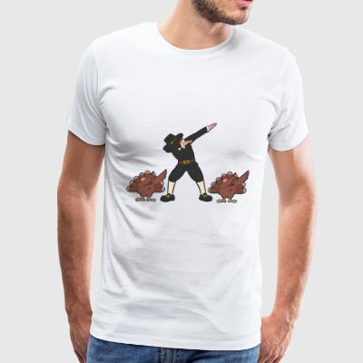 Dabbing Pilgrim and Dabbing Turkey Thanksgiving - Men's Premium T-Shirt