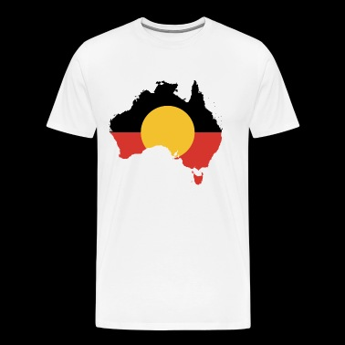 Australian Aboriginal Flag on Australian Map - Men's Premium T-Shirt