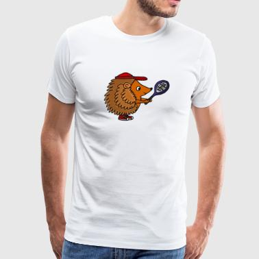 Awesome Funny Hedgehog With Tennis Racket - Men's Premium T-Shirt