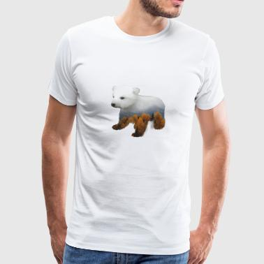 Polar Bear In Mountains - Double Exposure Style - Men's Premium T-Shirt