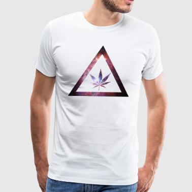 Galaxy Weed Cannabis Geometry Triangle - Men's Premium T-Shirt