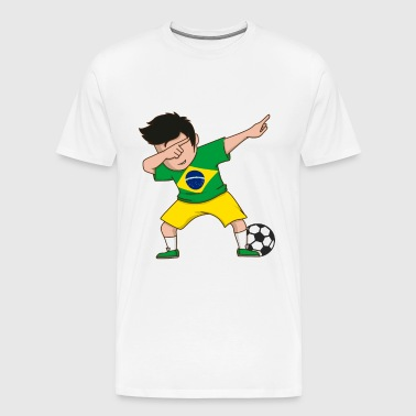 Brazil Dabbing Soccer Boy World Brazilian Flag Fan - Men's Premium T-Shirt