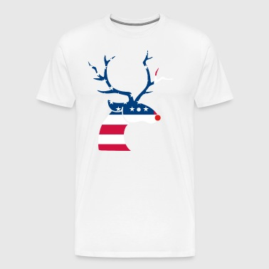 Patriotic Christmas Reindeer with American Flag - Men's Premium T-Shirt