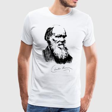 Charles Darwin Portrait Signature Evolution Atheis - Men's Premium T-Shirt