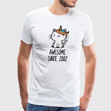 Caticorn Awesome Since 2002 16th birthday gift - Men's Premium T-Shirt