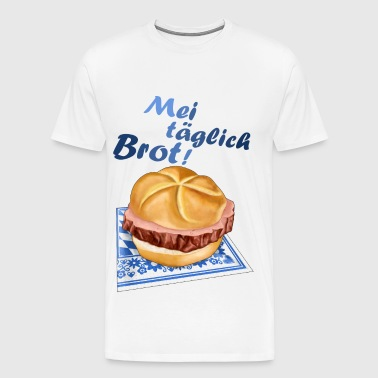 Bavarian meat loaf in bread roll - text - Men's Premium T-Shirt
