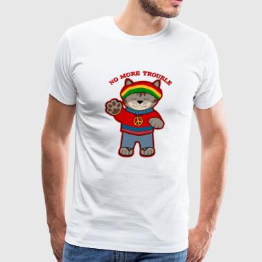 No More Trouble Rasta Cat T Shirt Funny - Men's Premium T-Shirt
