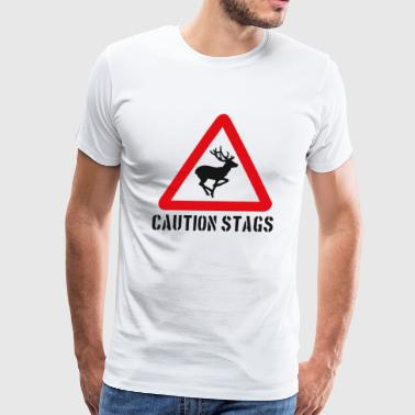 Caution Stags Funny T shirt - Men's Premium T-Shirt