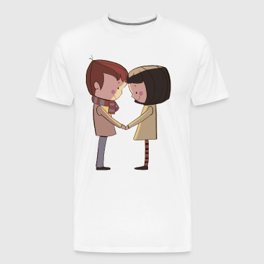 Cute couple on the date - Men's Premium T-Shirt