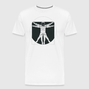 Vitruvian Astronaut Floating in Outer Space - Men's Premium T-Shirt